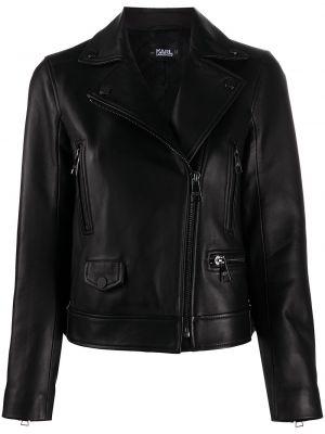 Кожаная куртка короткая - черная Karl Lagerfeld