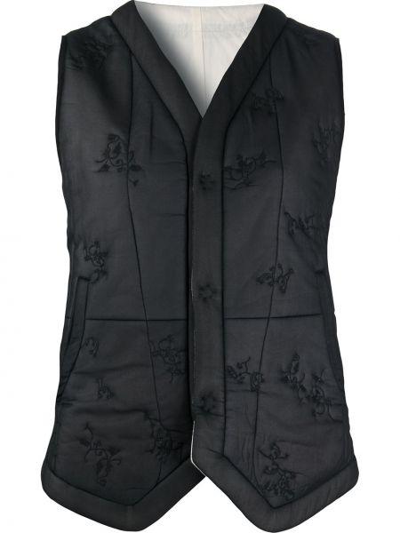Хлопковая черная стеганая куртка с декоративной отделкой с карманами Renli Su