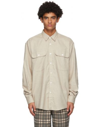 Рубашка с воротником из верблюжьей шерсти с карманами с манжетами Schnaydermans