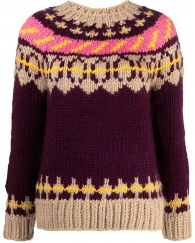 Z rękawami wełniany sweter z okrągłym dekoltem okrągły dekolt Tory Burch