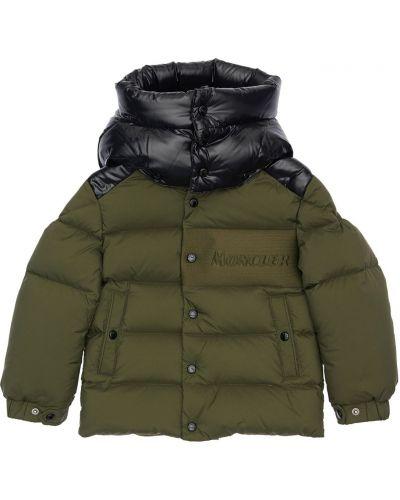 Zielona kurtka z kapturem z nylonu Moncler