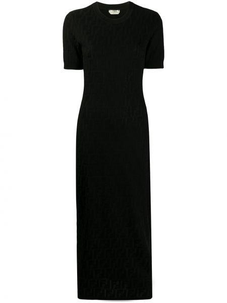 Черное платье мини с вырезом с короткими рукавами из вискозы Fendi