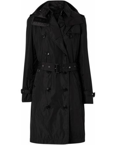 Кожаный плащ - черный Burberry