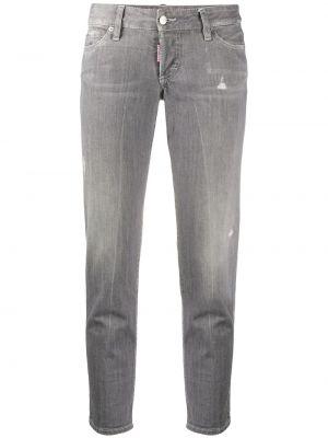 Серые укороченные джинсы с поясом с пайетками Dsquared2