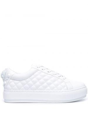 Стеганые белые кроссовки на шнуровке Kurt Geiger London