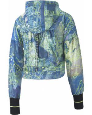 Синяя свободная куртка с капюшоном с манжетами в рубчик Puma