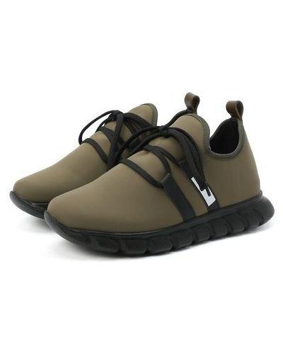 Кожаные зеленые кроссовки с подкладкой Il Gufo