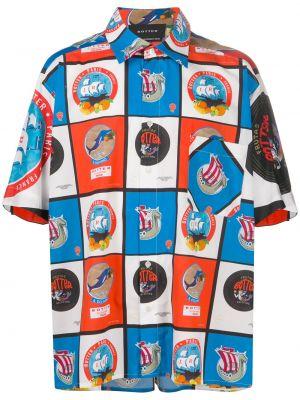 Синяя классическая прямая рубашка с короткими рукавами с воротником Botter