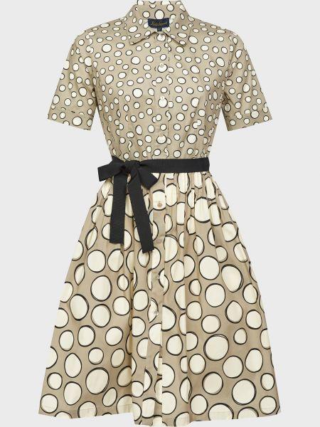 Бежевое платье с поясом на пуговицах Luisa Spagnoli
