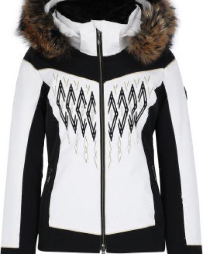 Приталенная утепленная белая куртка горнолыжная Descente
