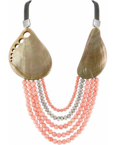 Розовое ожерелье с камнями Nature Bijoux