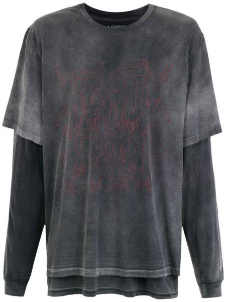 Хлопковая прямая черная футболка с круглым вырезом à La Garçonne