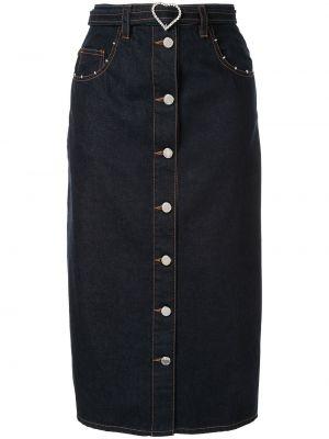 Прямая синяя классическая с завышенной талией джинсовая юбка Markus Lupfer