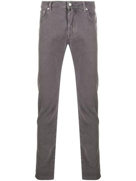 Хлопковые серые джинсы-скинни на пуговицах Jacob Cohen