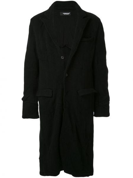 Czarny płaszcz wełniany z długimi rękawami Undercover