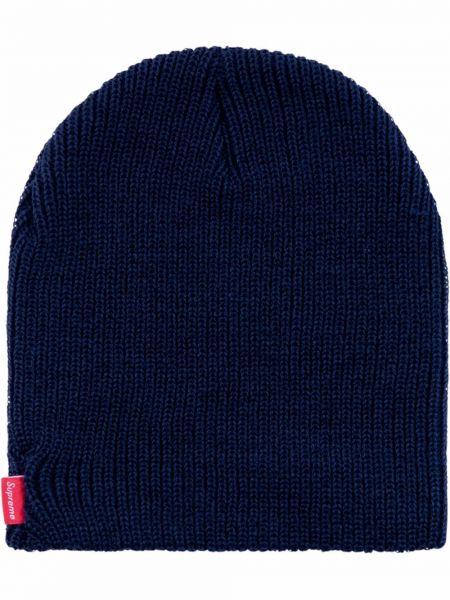 Niebieska czapka prążkowana Supreme