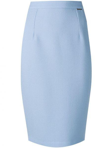 Шелковая синяя с завышенной талией юбка миди с разрезом Styland