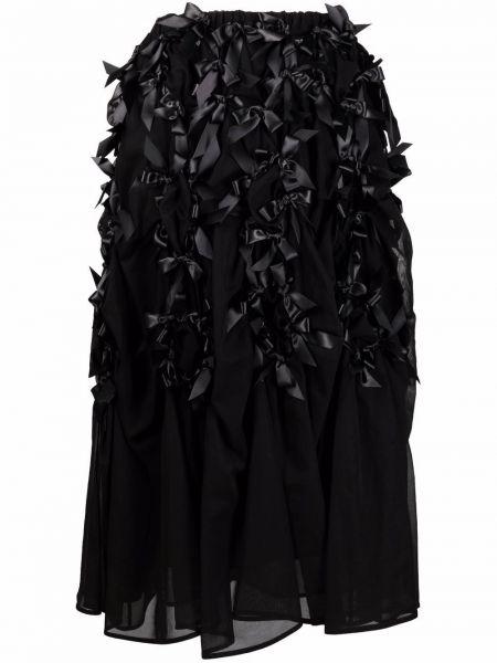 Хлопковая с завышенной талией черная юбка миди Comme Des Garçons Noir Kei Ninomiya