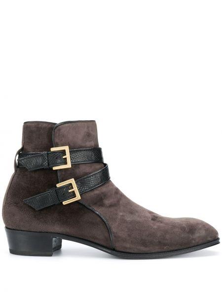 Кожаные серые кожаные ботинки с пряжкой на каблуке Lidfort
