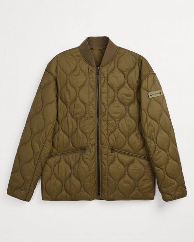 Стеганая куртка хаки с воротником Zara