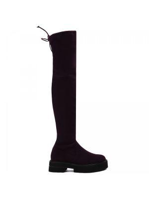 Фиолетовые кожаные ботфорты Stuart Weitzman