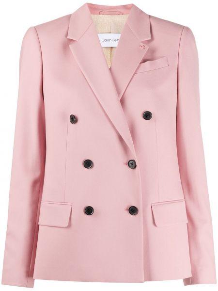 Розовый пиджак двубортный с карманами Calvin Klein
