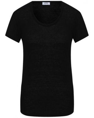 Льняная прямая черная футболка La Fabbrica Del Lino