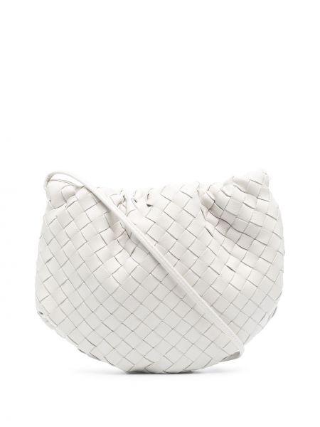 Тонкая кожаная белая сумка через плечо Bottega Veneta