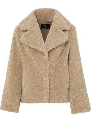Коричневое пальто для полных с подкладкой Unreal Fur