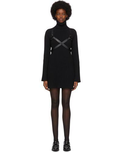 Czarna sukienka mini z długimi rękawami srebrna Junya Watanabe