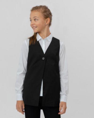 Школьный черный жилет Button Blue