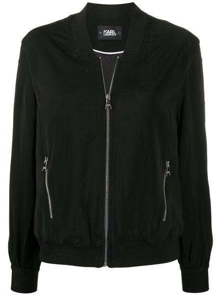 Длинная куртка черная на пуговицах Karl Lagerfeld