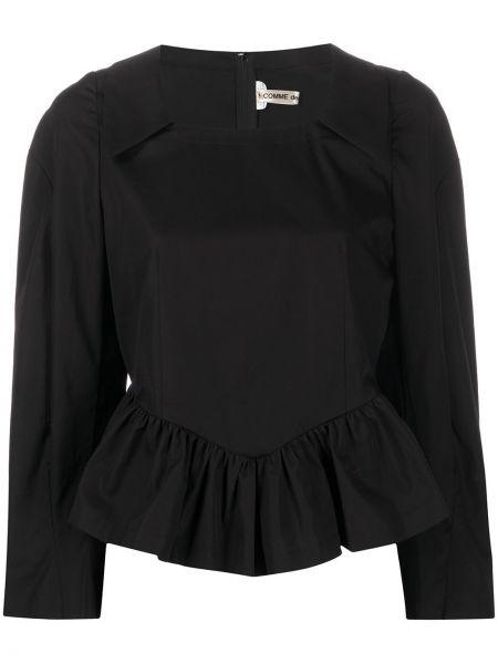 Czarny top z długimi rękawami bawełniany Comme Des Garcons