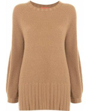 Коричневый свитер в рубчик из вискозы с круглым вырезом Manning Cartell