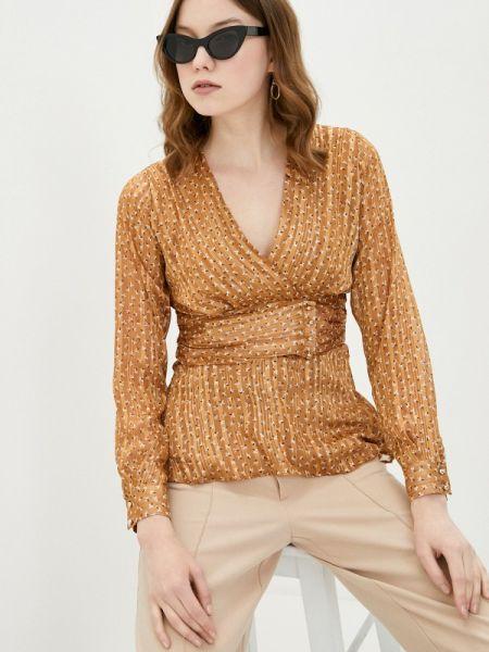 Коричневая блузка с длинным рукавом Adl