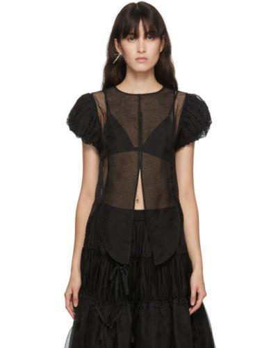 Шелковая черная рубашка с коротким рукавом с воротником с вышивкой Renli Su