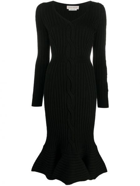 Шерстяное черное платье Alexander Mcqueen
