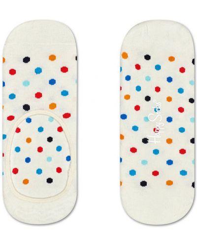 Белые колготки с узором Happy Socks