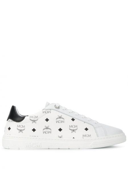 Biały koronkowa skórzane sneakersy z prawdziwej skóry na sznurowadłach Mcm