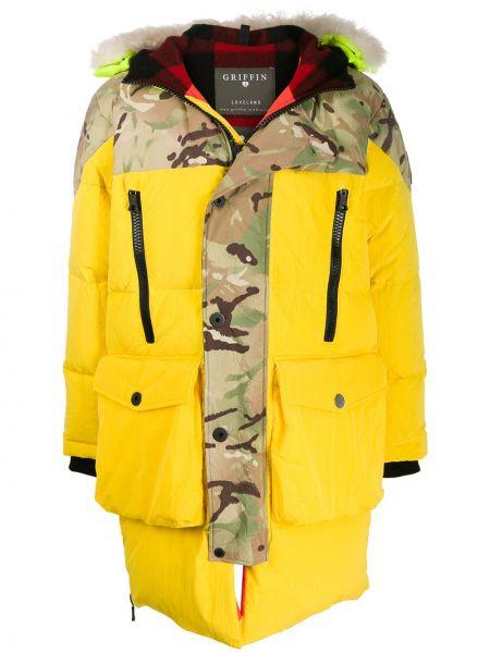 Żółty płaszcz wełniany z długimi rękawami Griffin