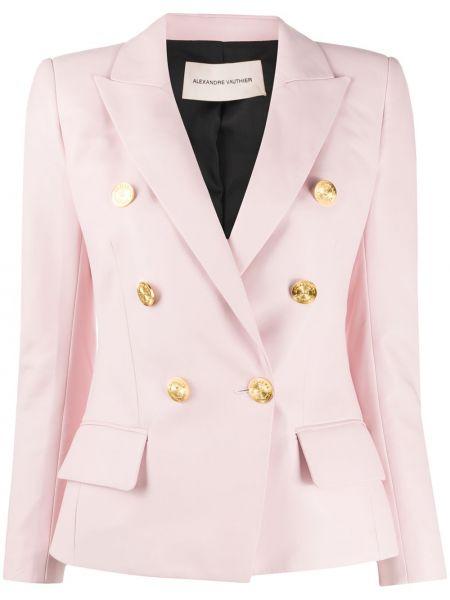 Розовый кожаный пиджак двубортный Alexandre Vauthier