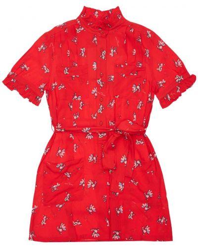 Красное платье из вискозы на пуговицах Little Marc Jacobs