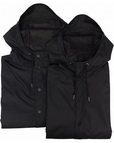 Czarny płaszcz przeciwdeszczowy z kapturem z długimi rękawami Rains