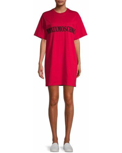 Хлопковое повседневное купальное платье с вышивкой Moschino