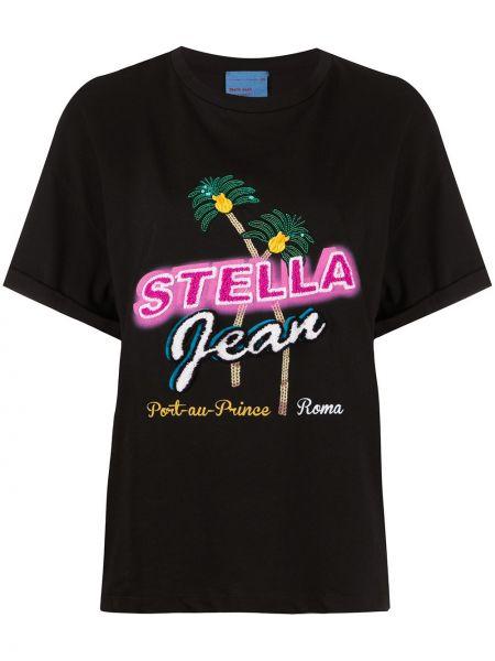 С рукавами хлопковый черный топ круглый Stella Jean