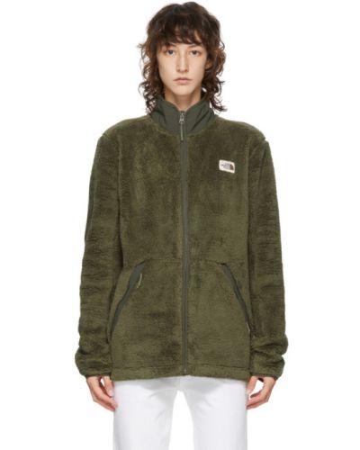 Сатиновая зеленая длинная куртка с воротником с сеткой The North Face