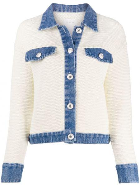 Классическая синяя длинная куртка с манжетами с воротником Sandro Paris