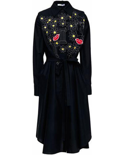 Czarna sukienka midi zapinane na guziki z haftem Vivetta