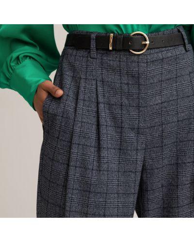 Синие брюки с защипами в клетку с карманами Laredoute