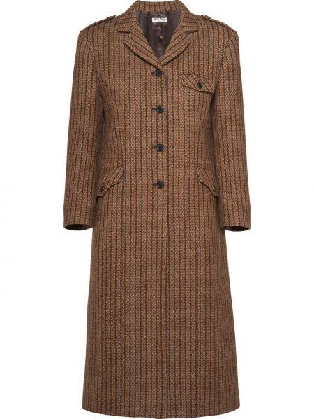 Коричневое однобортное шерстяное пальто на пуговицах Miu Miu